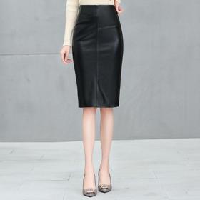 NQS767新款时尚气质高腰中长款绵羊皮包臀裙TZF