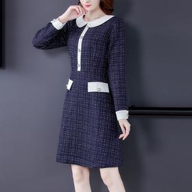 AHM-prfs9657新款时尚小香风气质修身娃娃领长袖中长款格纹连衣裙TZF