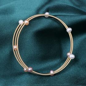 NM-SL-202011261新款时尚简约气质3圈珍珠开口手镯TZF