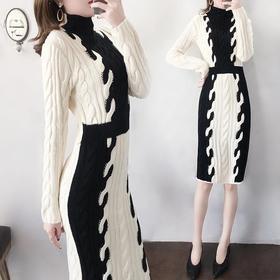PDD-MNXB201126新款潮流时尚气质收腰显瘦高领长袖加厚针织连衣裙TZF