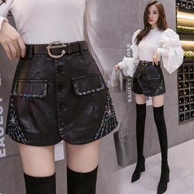 YHSS新款韩版时尚气质高腰手工钉珠PU皮裙裤TZF