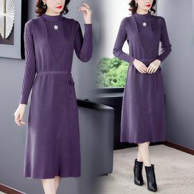 AHM-hfjr7179新款时尚优雅气质修身中长款针织连衣裙两件套TZF
