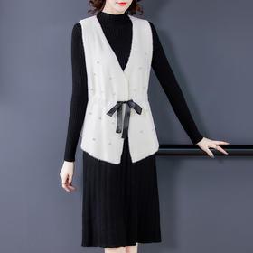 AHM-hfjr7175新款时尚气质小香风马甲外套针织打底连衣裙两件套TZF