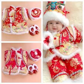 PDD-WWHY20112新款中国风婴儿宝宝百天周岁庆生抓周新年唐装棉服套装TZF