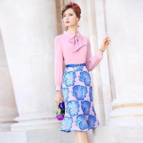 FMY33461新款时尚优雅气质立领长袖中长款拼接印花假两件套连衣裙TZF