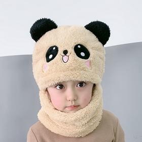 PDD-KXFP新款可爱儿童加厚保暖帽子围脖一体宝宝遮脸护耳帽TZF
