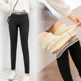QCFS新款时尚气质高腰加绒加厚紧身哑光小脚打底裤TZF
