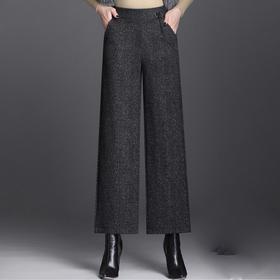 MQ1942-1670新款时尚气质休闲宽松松紧腰毛呢阔腿裤TZF