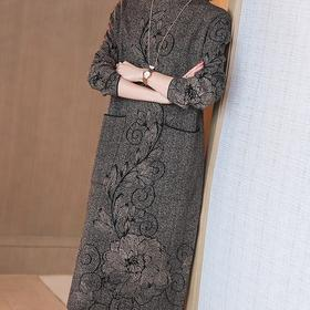 HT-BH-456-6365新款时尚优雅气质半高领长袖加绒加厚打底连衣裙TZF