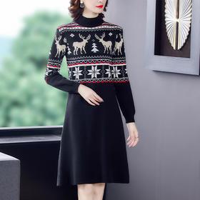AHM-ypd313新款时尚气质宽松半高领长袖撞色印花针织连衣裙TZF