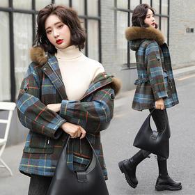 HRFS-WX75179新款韩版时尚气质大毛领长袖格纹拼接加绒保暖外套TZF