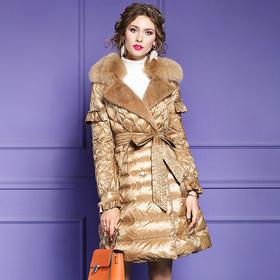 FMY28520新款高端优雅气质真毛领长袖加厚保暖系带羽绒服外套TZF