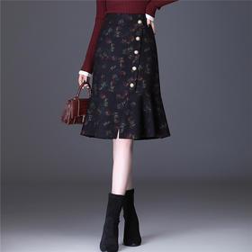 HT-N-A20-9183-2876S新款时尚气质高腰中长款荷叶边印花鱼尾半身裙TZF