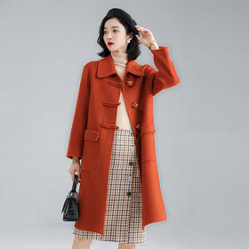 HRFS-WS68669新款时尚优雅气质翻领长袖粽子扣长款纯色双面呢大衣外套TZF