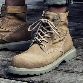 【为思礼】【穿出新风格】情侣款保暖马丁靴男潮大码战狼沙漠靴加绒中帮军靴复古高帮鞋工装短靴