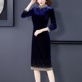 AHM-yqwl6628新款时尚优雅气质修身立领丝绒连衣裙TZF