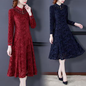 AHM-xpj1773新款时尚优雅气质修身立领长袖蕾丝加绒连衣裙TZF