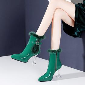 OLD-N721-W6312新款时尚气质尖头貂毛加绒水晶高跟短靴TZF