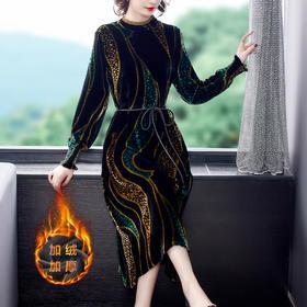 NYL8988新款时尚气质修身圆领长袖细带中长款丝绒印花连衣裙TZF