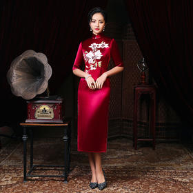 LHS2017新款优雅气质修身立领中袖醋酸缎刺绣礼服裙TZF