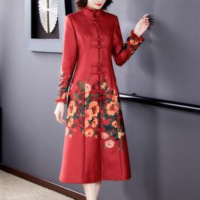 AHM-yslg8378新款时尚优雅气质宽松立领长袖中长款印花大衣外套TZF