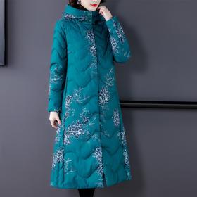 AHM-myx8630新款时尚优雅气质连帽加厚夹棉中长款印花棉服外套TZF