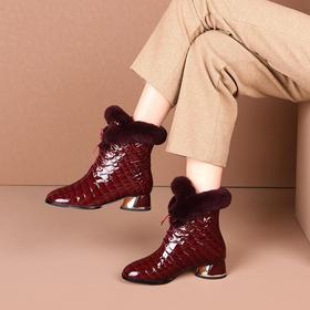 OLD-A187-3新款时尚气质牛皮系带加厚羊毛中粗跟中筒靴TZF