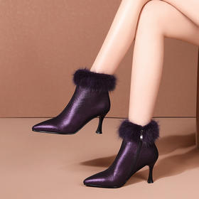 OLD-D7121新款时尚气质百搭尖头加绒保暖细高跟棉靴TZF