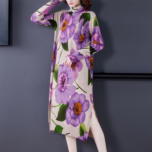 HT-BH-463-8119新款时尚优雅气质宽松立领长袖中长款印花针织连衣裙TZF 商品图2