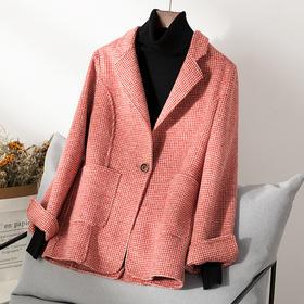 RO-f48b新款时尚优雅气质翻领长袖人字纹双面羊毛呢短款西装外套TZF