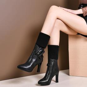 OLD-50-15新款时尚气质百搭真皮尖头加绒粗高跟中筒靴TZF