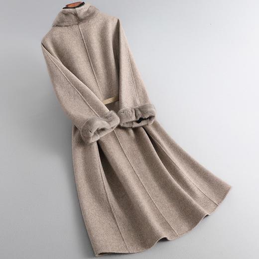 RO-f213新款优雅气质水貂领长袖中长款皮腰带双面羊绒大衣外套TZF 商品图2