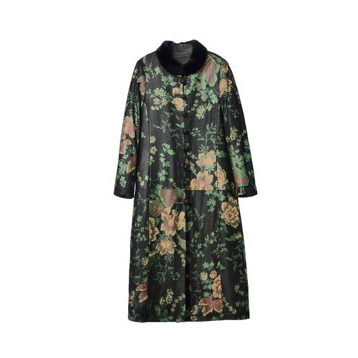 AHM-xyjp3097新款时尚优雅气质立领长袖长款仿绵羊皮印花大衣外套TZF 商品图4