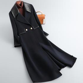 RO-fh837新款时尚优雅气质翻领长袖中长款双面羊毛呢大衣外套TZF
