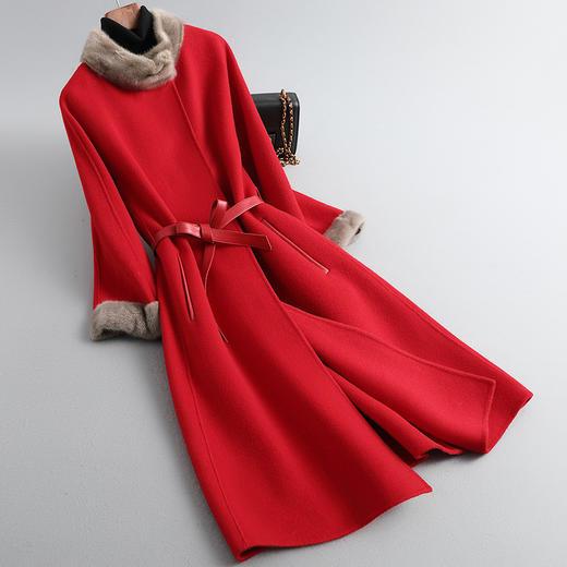 RO-f213新款优雅气质水貂领长袖中长款皮腰带双面羊绒大衣外套TZF 商品图0