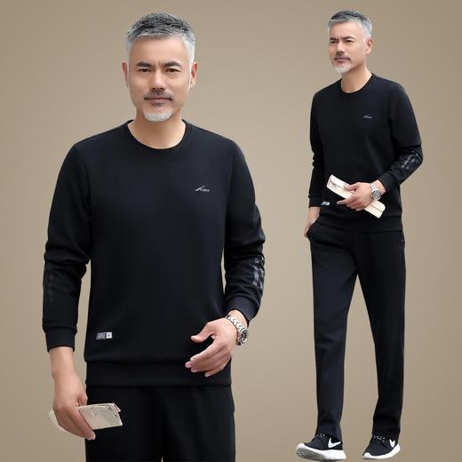 SP11893新款男士时尚气质休闲宽松圆领长袖加绒加厚卫衣裤子两件套TZF 商品图3