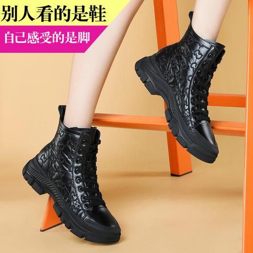 MLKL9689新款潮流时尚气质圆头系带高帮休闲鞋TZF 商品图2