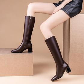 OLD-GX-G032S新款时尚气质真皮加绒侧拉链粗跟长筒靴TZF