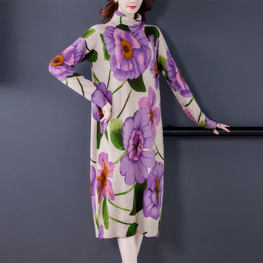 HT-BH-463-8119新款时尚优雅气质宽松立领长袖中长款印花针织连衣裙TZF 商品图1