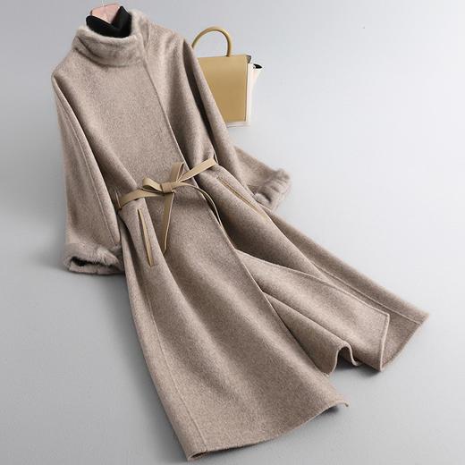 RO-f213新款优雅气质水貂领长袖中长款皮腰带双面羊绒大衣外套TZF 商品图1