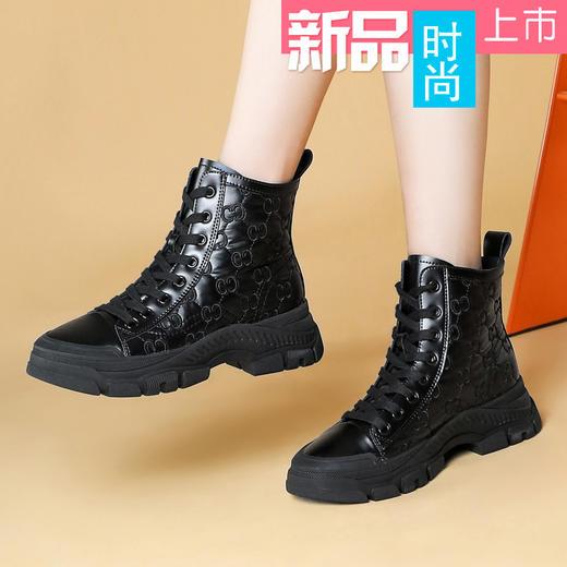 MLKL9689新款潮流时尚气质圆头系带高帮休闲鞋TZF 商品图1