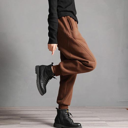 PDD-YYY201130新款时尚气质休闲宽松拼接加绒加厚束脚哈伦运动裤TZF 商品图4