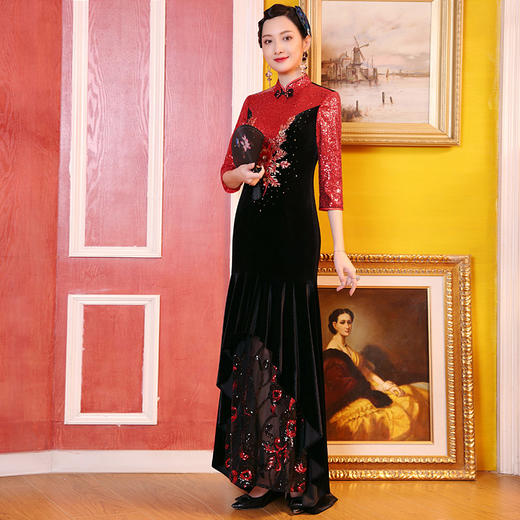 DLQ-A2727新款中国风名媛气质修身立领七分袖丝绒拼接刺绣连衣裙TZF 商品图1