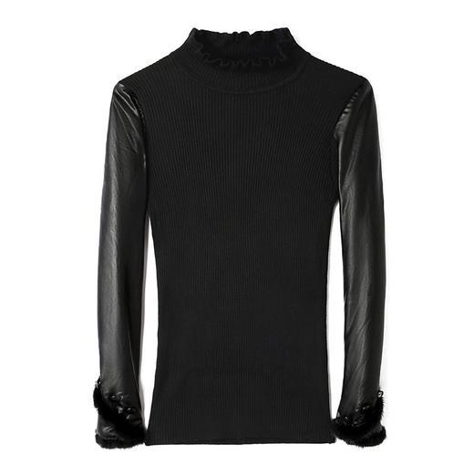CCFS-P-2063新款时尚气质修身加绒皮袖打底衫TZF 商品图5