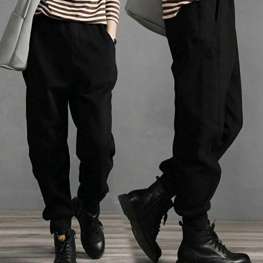 PDD-YYY201130新款时尚气质休闲宽松拼接加绒加厚束脚哈伦运动裤TZF 商品图1