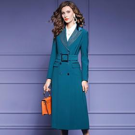 FMY34106新款时尚气质收腰双排扣中长款西装大衣外套TZF