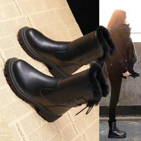 LN9936新款时尚气质加绒厚底后系带马丁靴TZF