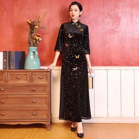 DLQ-A2752新款中国风优雅气质修身立领七分袖丝绒钉珠连衣裙TZF