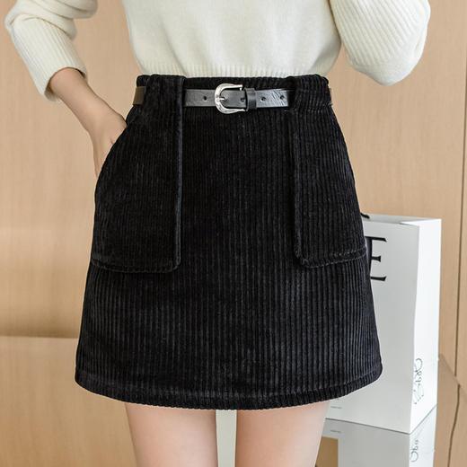 YHSS891新款时尚气质百搭高腰灯芯绒包臀短裙TZF 商品图2