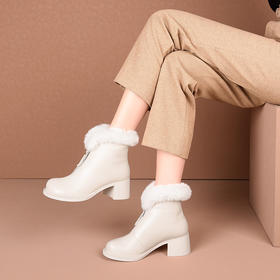 OLD-A158-10 2020冬新款加厚羊毛牛皮短靴TZF